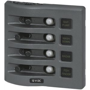 4374 - WeatherDeck® 12V DC Waterproof Circuit Breaker Panel - Gray 4 Positions